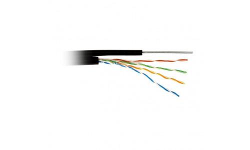 Кабель ATcom UTP cat5e CCA 4 пары 0,5 мм, наружный, PVC+PVE, трос 1,2 мм 305 м Standard (10700)